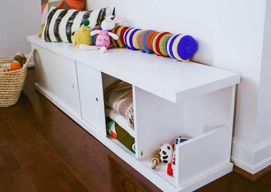 Storage Bench with Sliding Doors