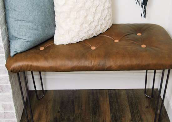 DIY Tufted Leather Bench