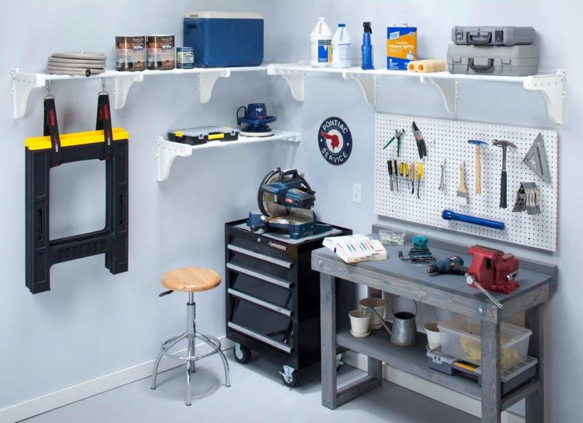 Ezshelf power tool storage in garage