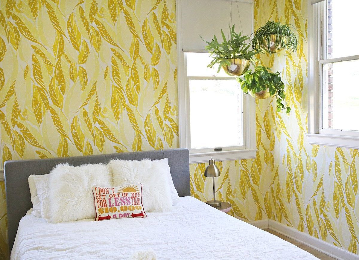 Yellow feather bedroom