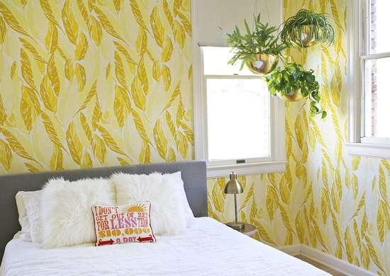 Yellow feather bedroom
