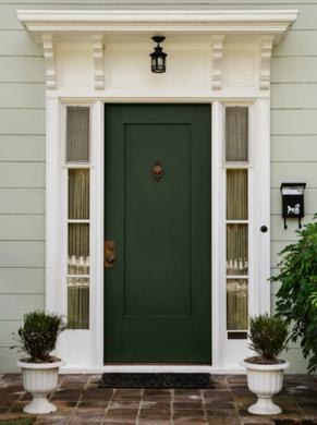 Classic green front door