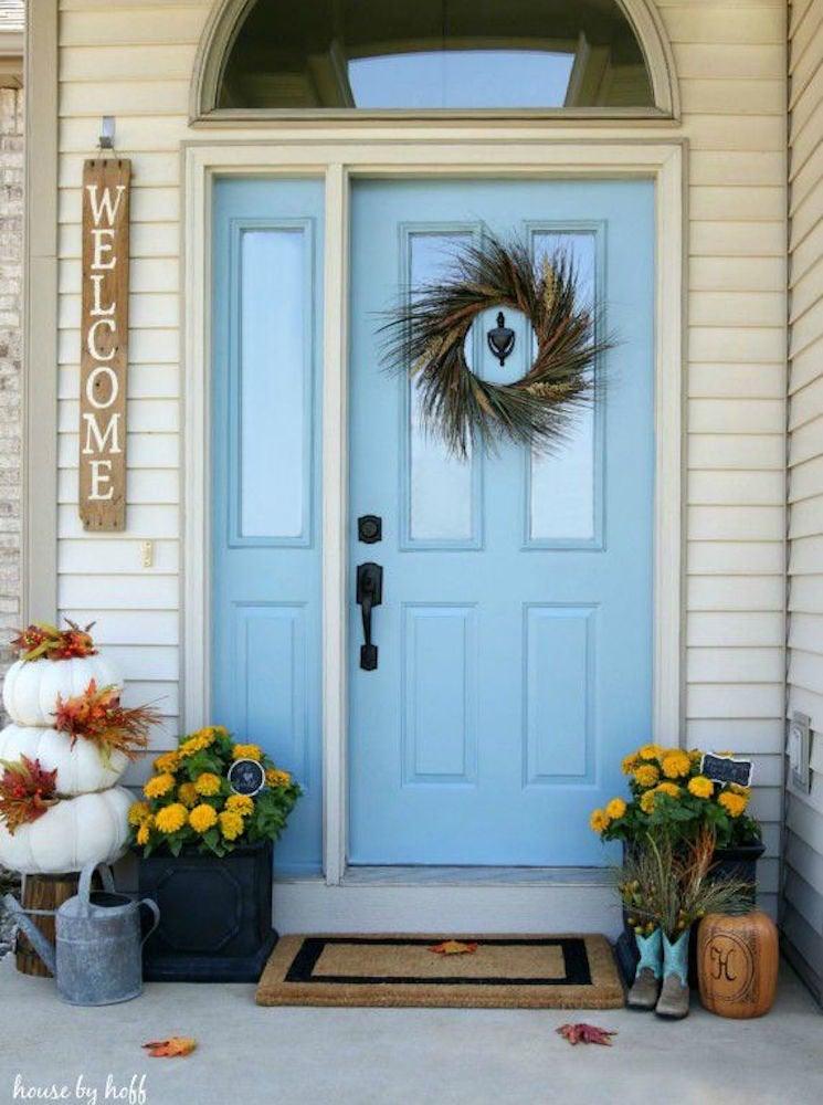 Sky blue front door