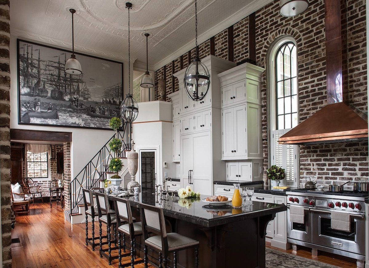 Dark exposed brick interior