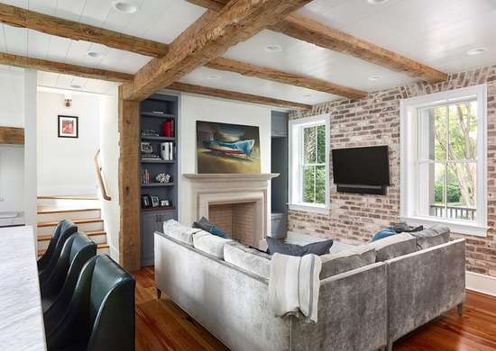 Exposed brick living room