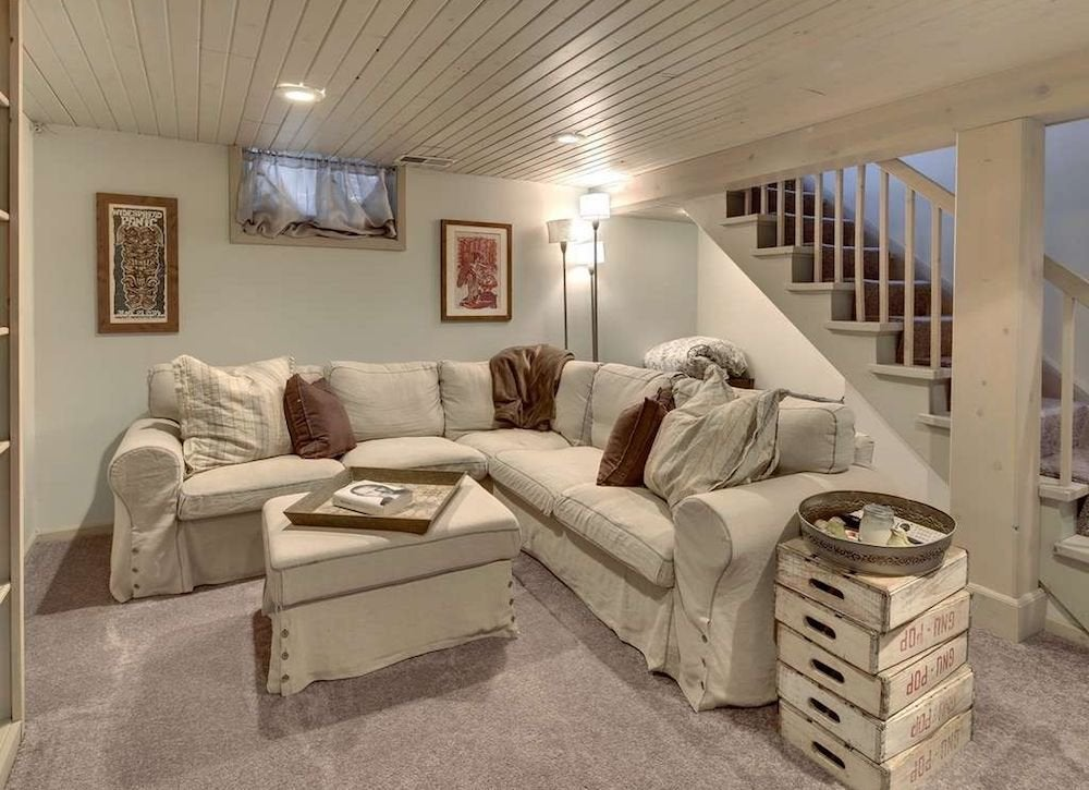 Painted Wood Plank Ceiling Basement Ceiling Ideas 11