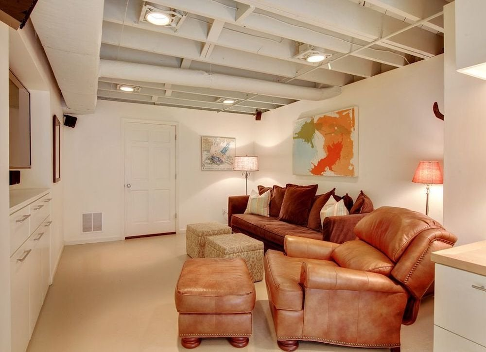 Basement Ceiling Ideas 48 Stylish Options Bob Vila Enchanting Basement Design Painting