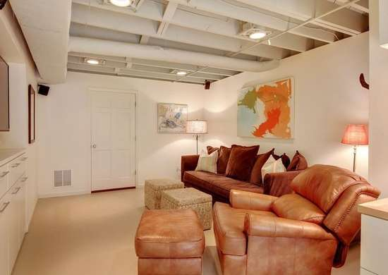 Painted Unfinished Basement Ceiling Basement Ceiling Ideas 11
