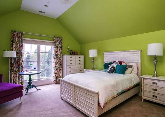 Lime Green Paint in Bedroom