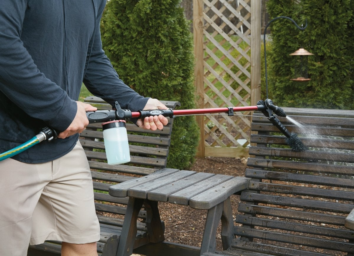 Pivotpro outdoor cleaning water wand in use