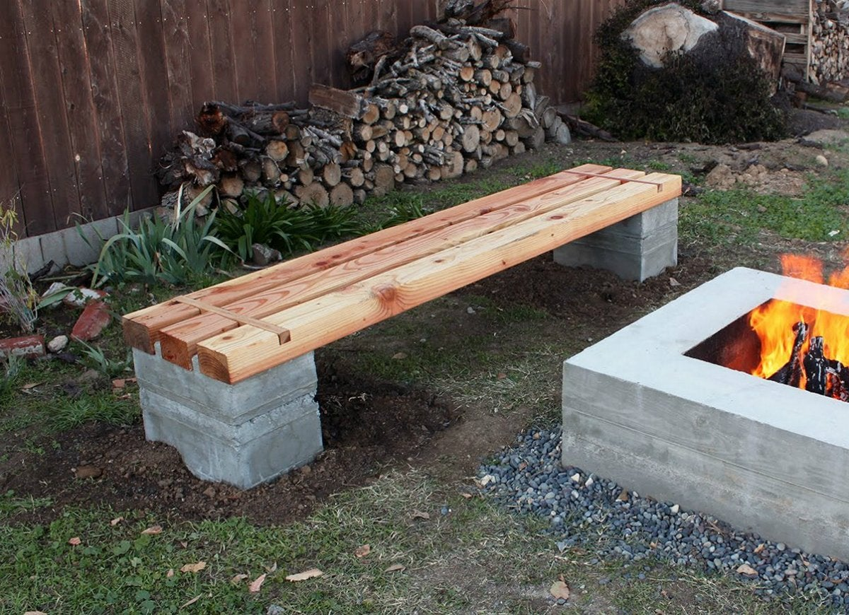 Concrete bench with quikrete