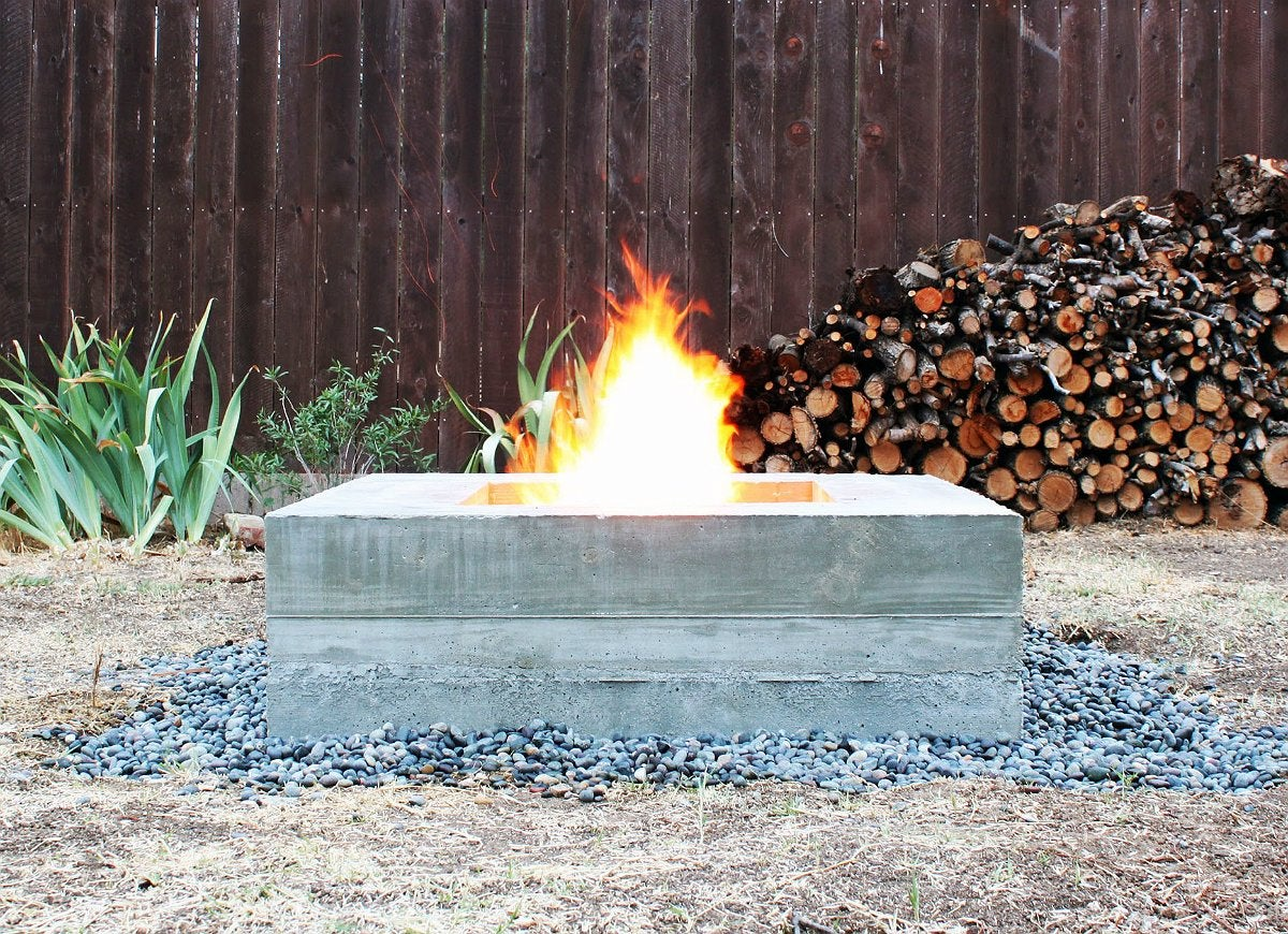Concrete firepit with quikrete