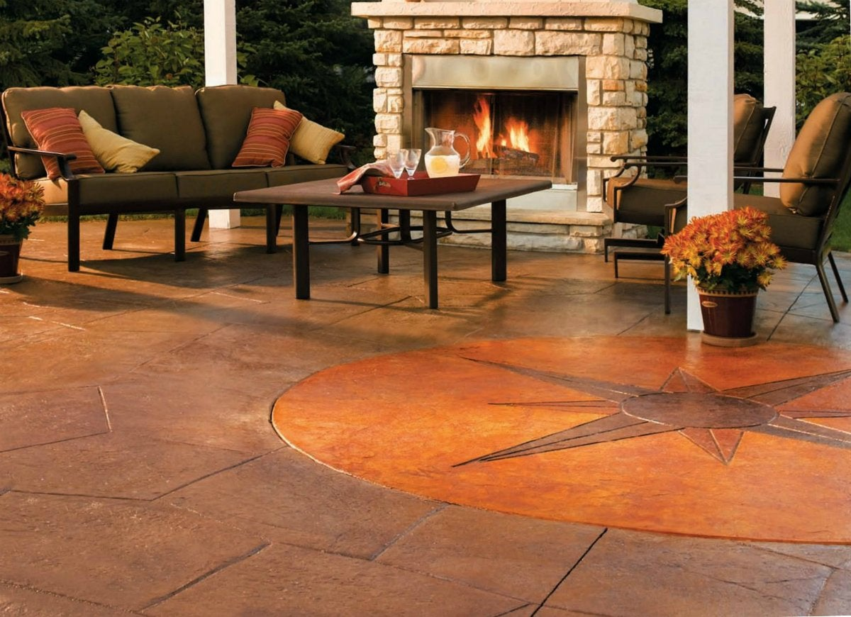 Stained concrete patio with quikrete