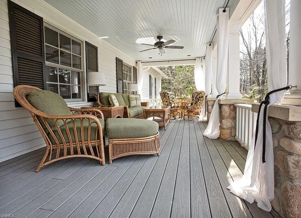 Floor length curtains porch