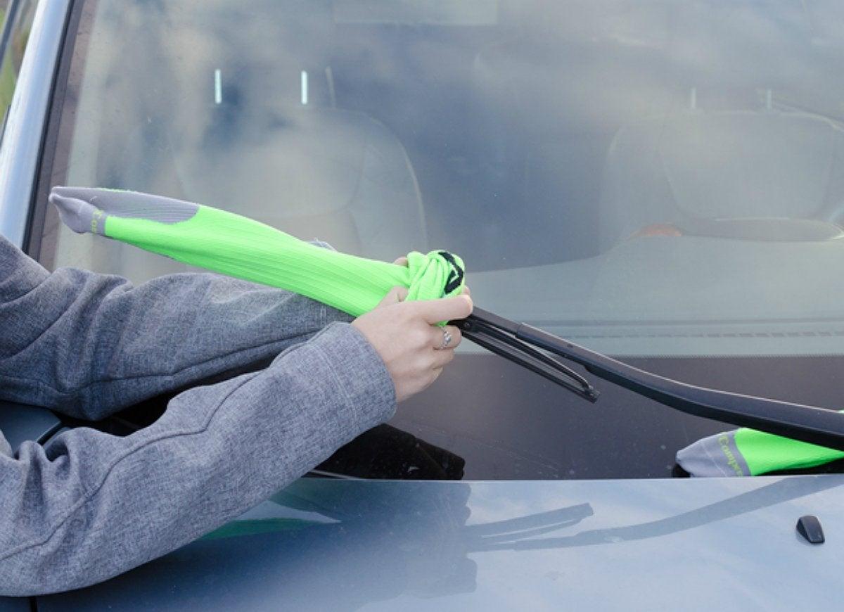 Socks prevent frozen windshield wipers