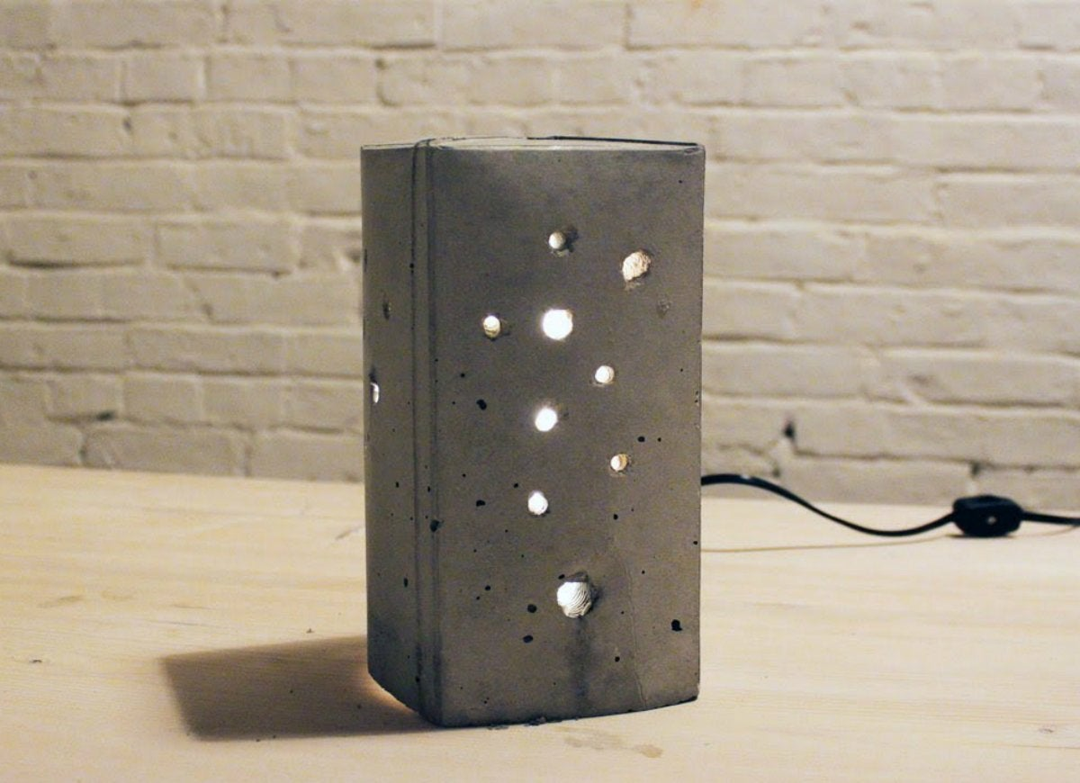 Concrete luminary from milk carton