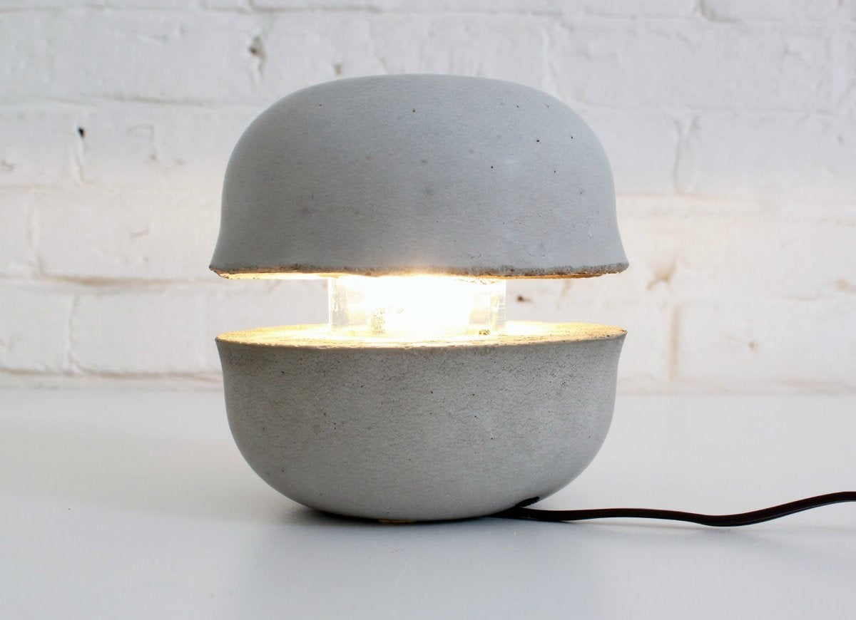 Concrete lamp from bowl forms