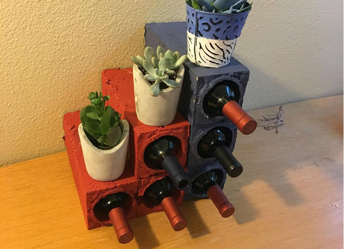Concrete wine rack