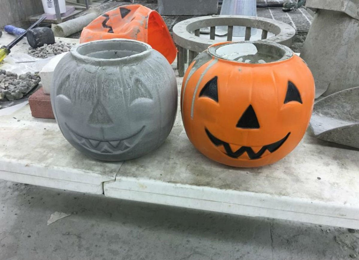Concrete pumpkin heads