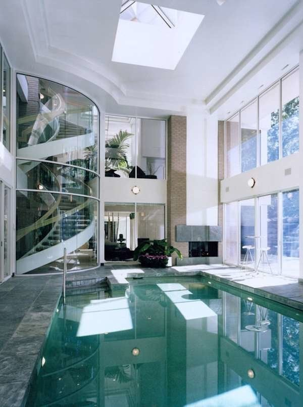 Indoor Pool with Fireplace