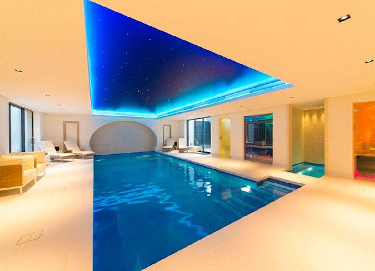 Modern swimming pool and hot tub