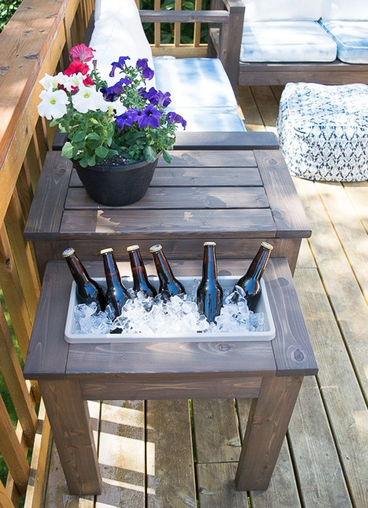 Diy patio table 15 easy ways to make your own bob vila diy outdoor table with ice bucket watchthetrailerfo