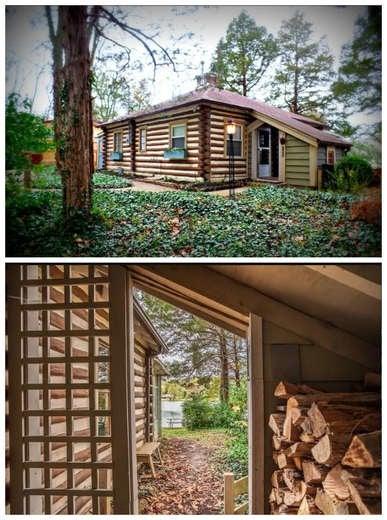 Log Cabin with Wood Storage