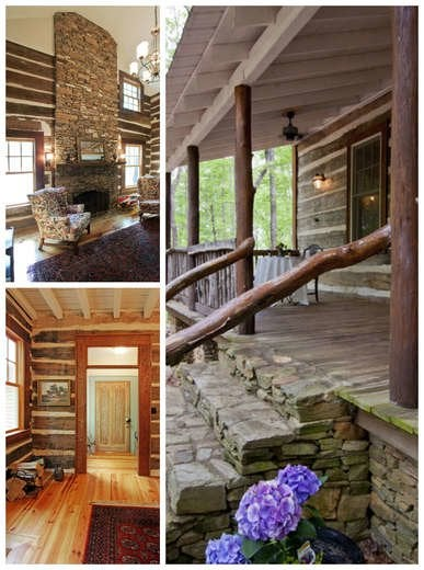 Log Cabin with Stone Fireplace