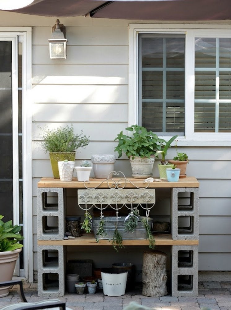 Potting table practical cinder blocks thumb