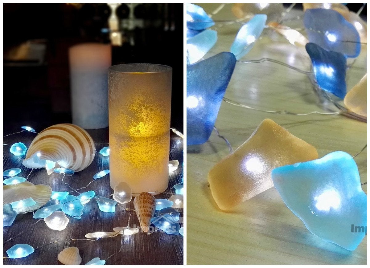 Beach glass lights