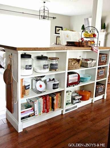 IKEA Shelves Hack Kitchen Island