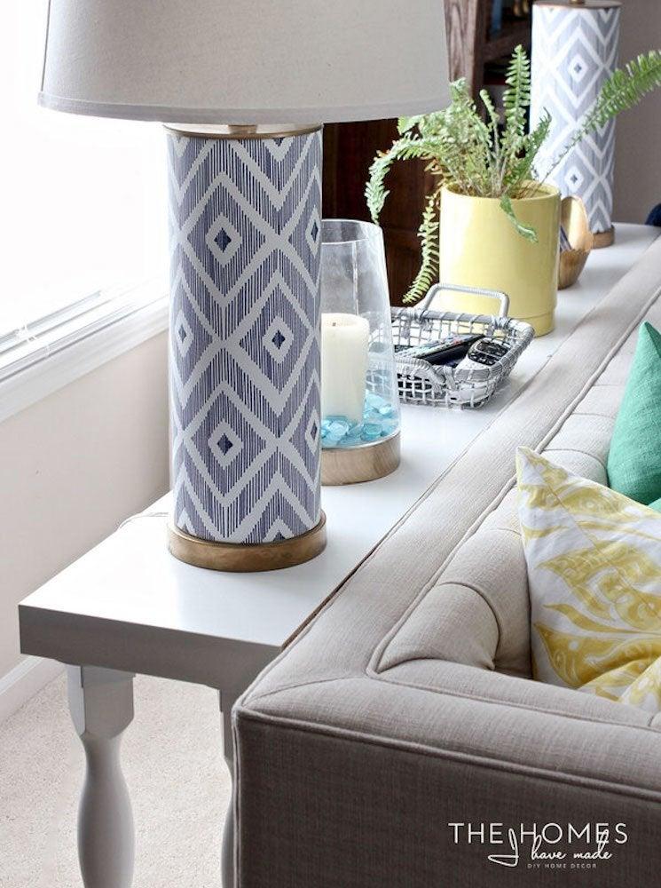 Ikea shelves hack sofa table diy