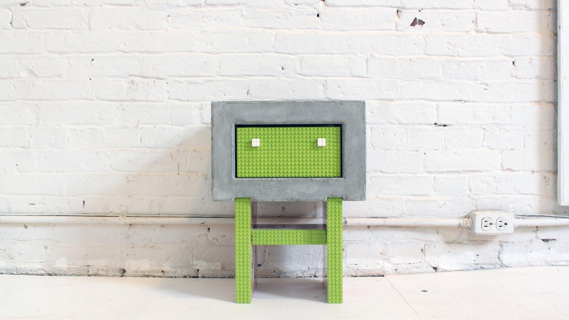 Concrete lego nightstand