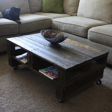 Wooden pallet coffee table 16 ways to use salvaged wood for How to make a wood pallet coffee table