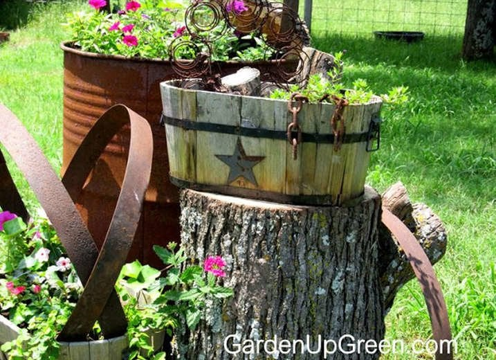 DIY Tree Stump Landscaping