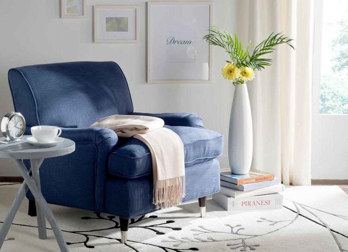 Navy linen chair