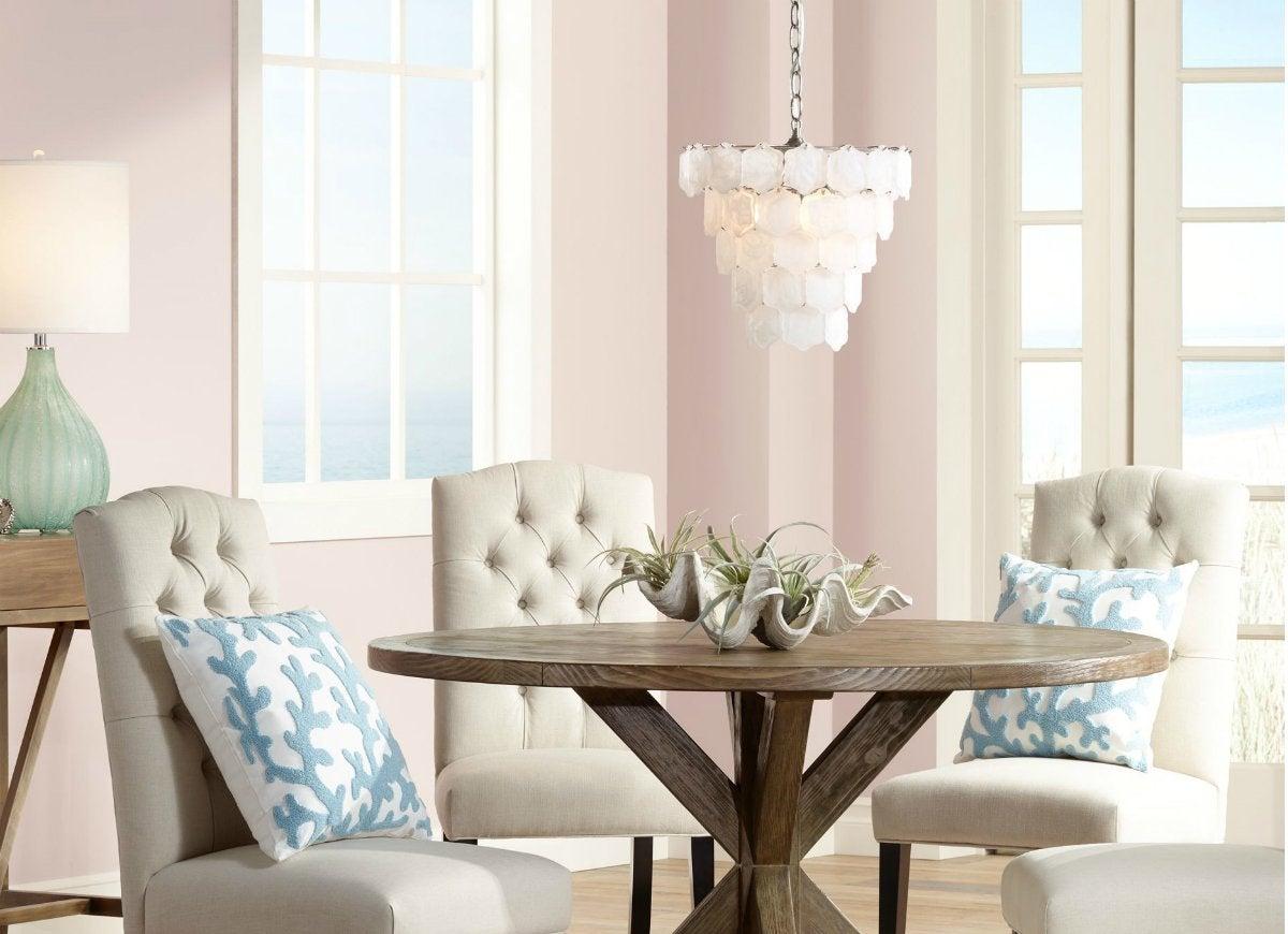 Capiz style white glass chip chandelier