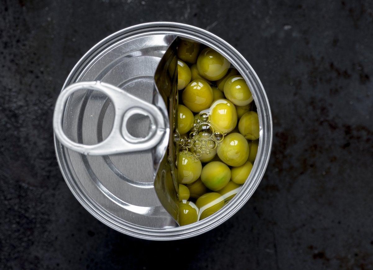 Open can of peas
