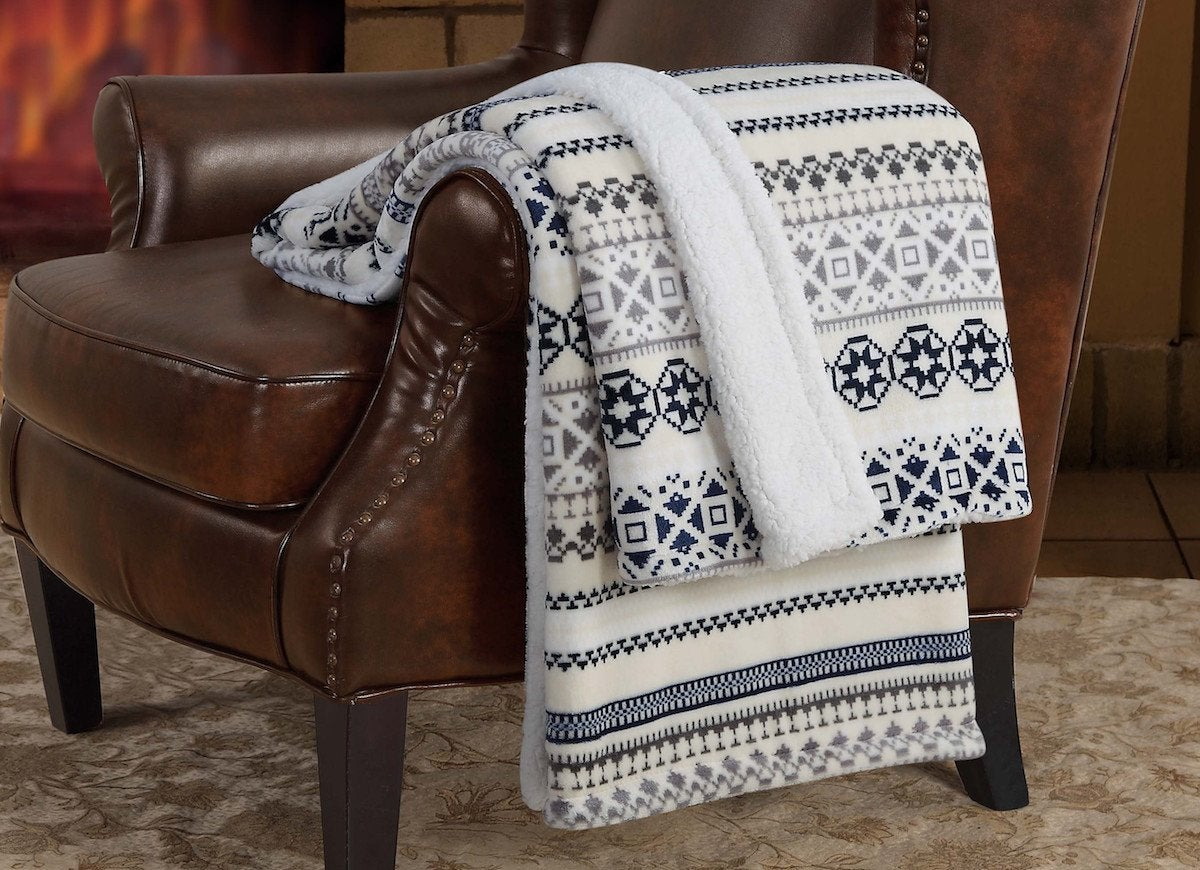 Fairisle sherpa reversible throw