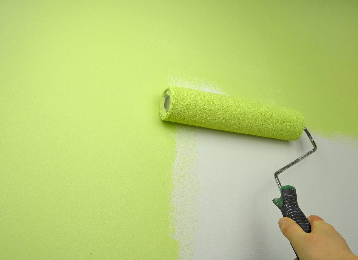 Paint roller green paint