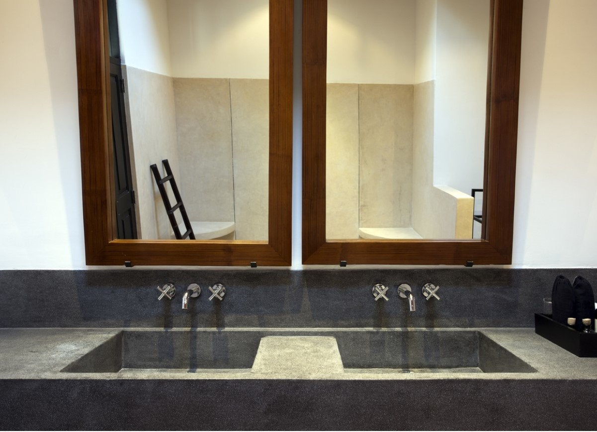 Concrete countertops in bathroom
