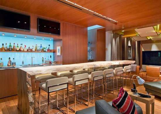Contemporary Basement Bar