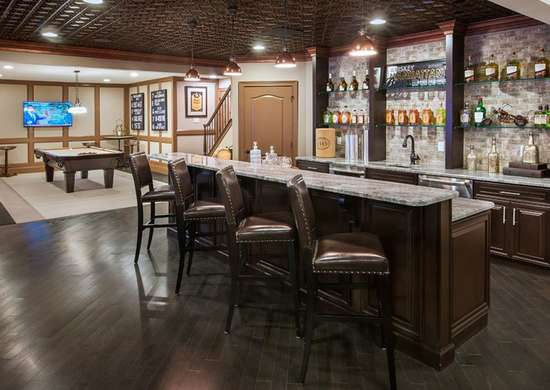 Basement Bar with Tin Ceiling