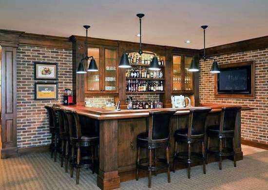 Basement Bar with Exposed Brick