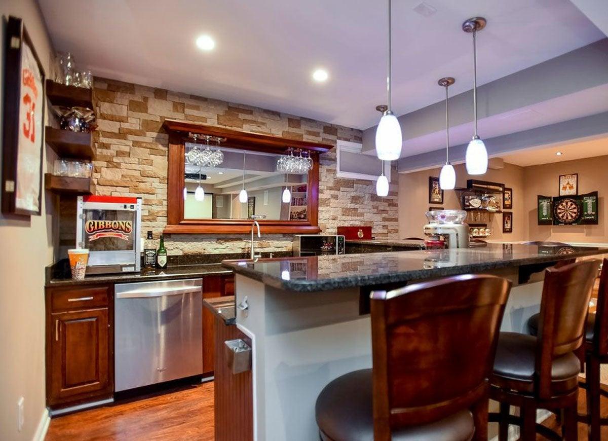 Wood And Stone Basement Bar 12 Basement Bars We Love Bob Vila