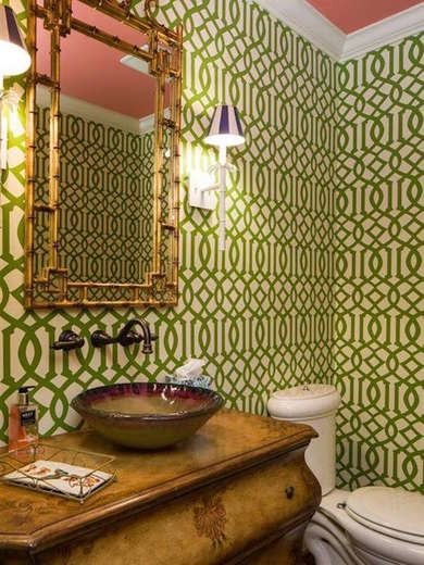 Green wallpaper bathroom 10 vintage decorating ideas we for Home decor greenville sc