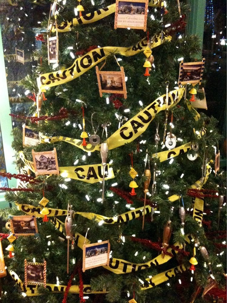 Caution tape garland
