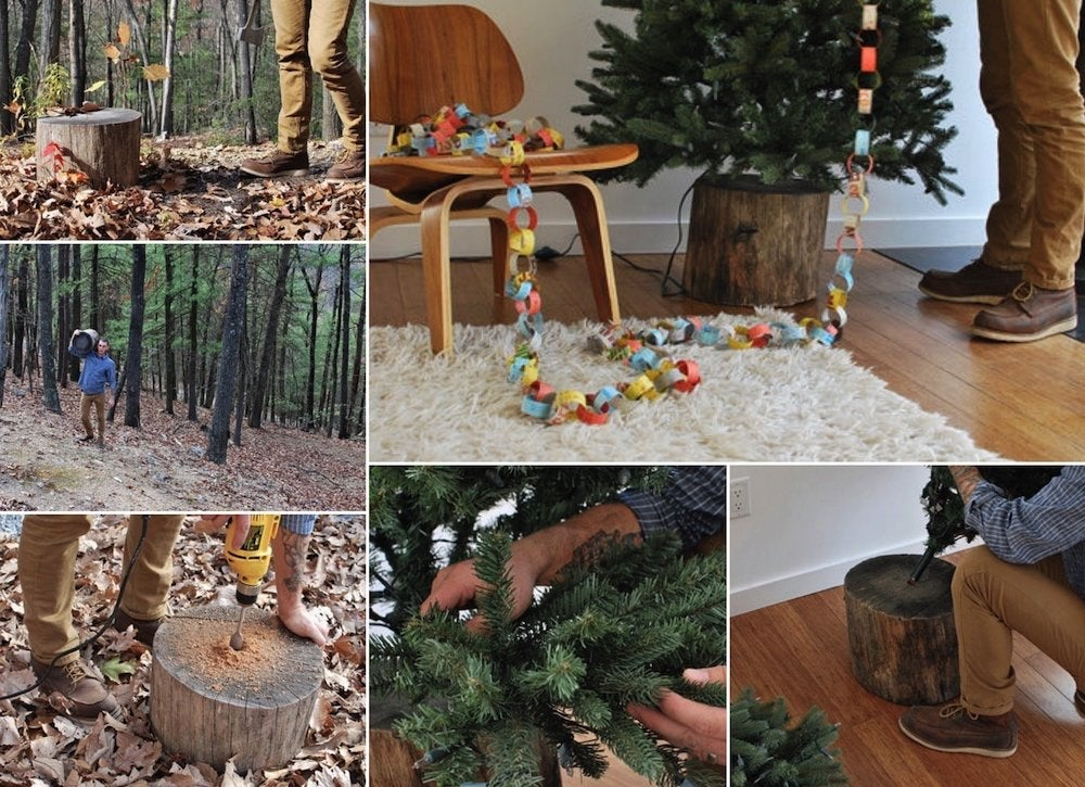 Diy tree trunk christmas tree stand 2