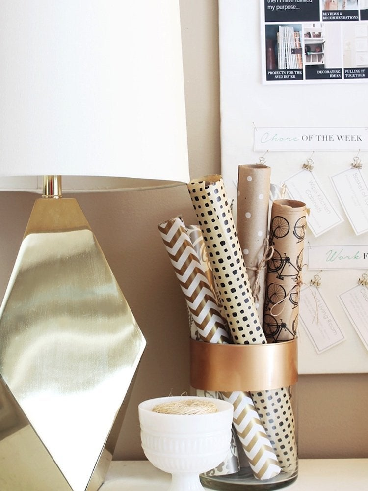 Diy wrapping paper storage 3