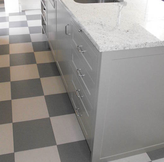 Corkconcepts grey and white checkerboard cork tile floor